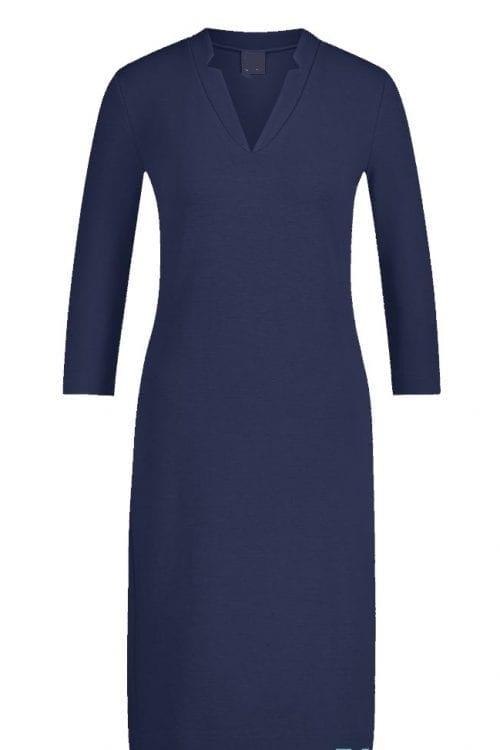Blauwe jersey jurk met 3/4 mouw