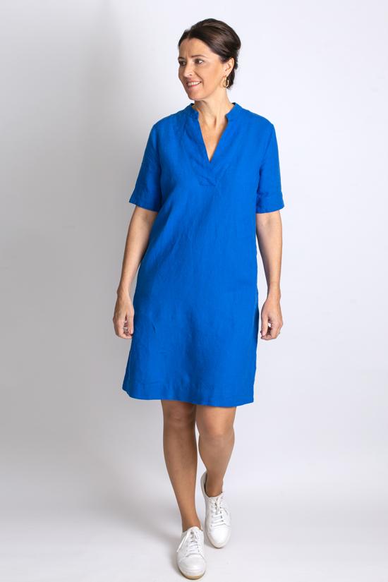 Kobaltblauwe linnen jurk