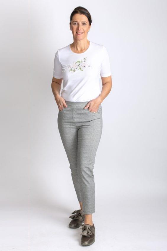 T-shirt wit met bloemprint