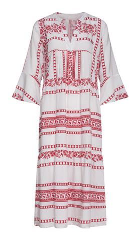 Lange jurk met griekse print en volants