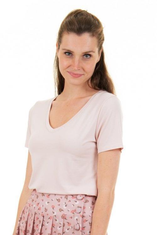 T-shirt roos met V-hals