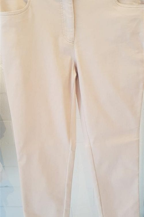 Kichtbeige 5-pocketbroek in katoenstretch