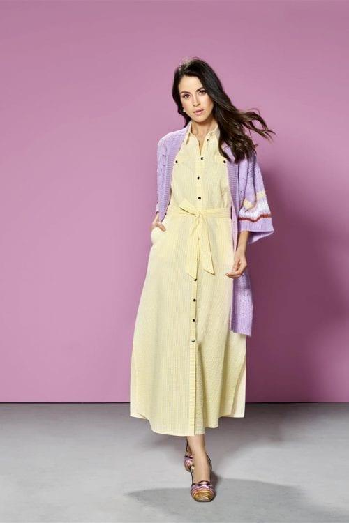Mouwloze jurk in piqué katoen