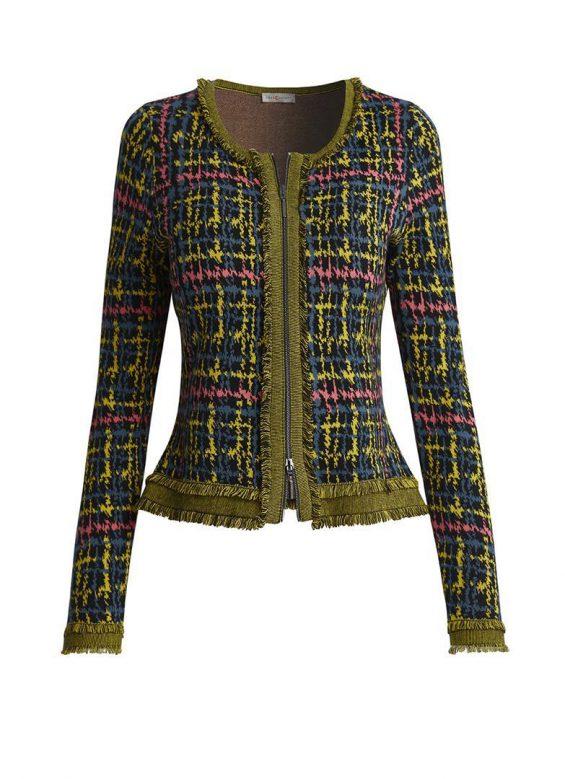 tricot vest met rits tweedprint