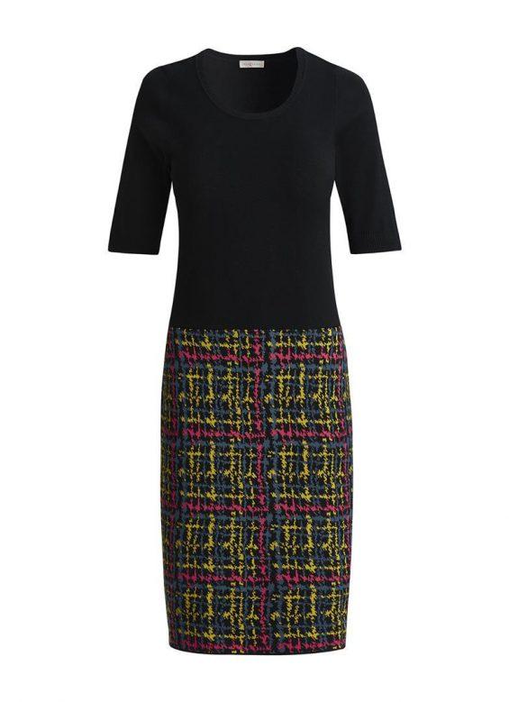 Tricot jurk tweedprint