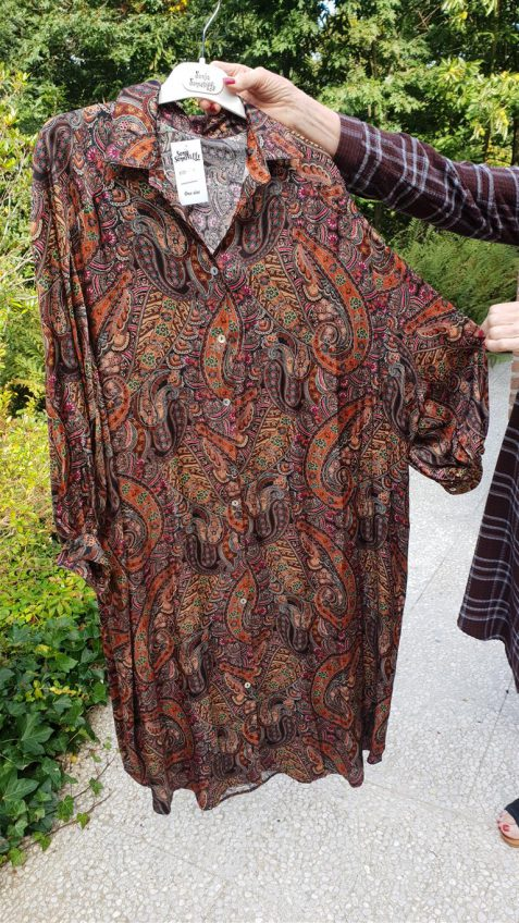 Oversize jurk in cashmere print donkerbruin