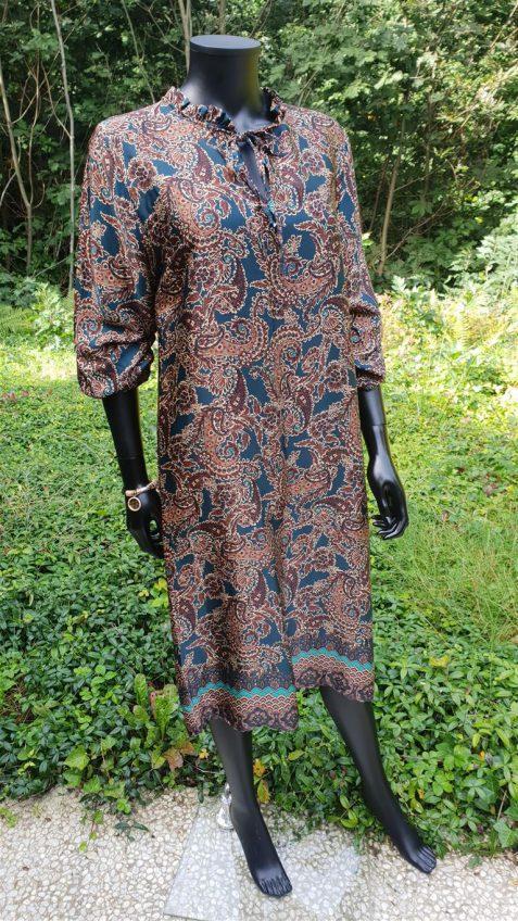 Halflange jurk petroleumkleur