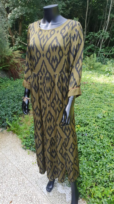 Kaki lange jurk