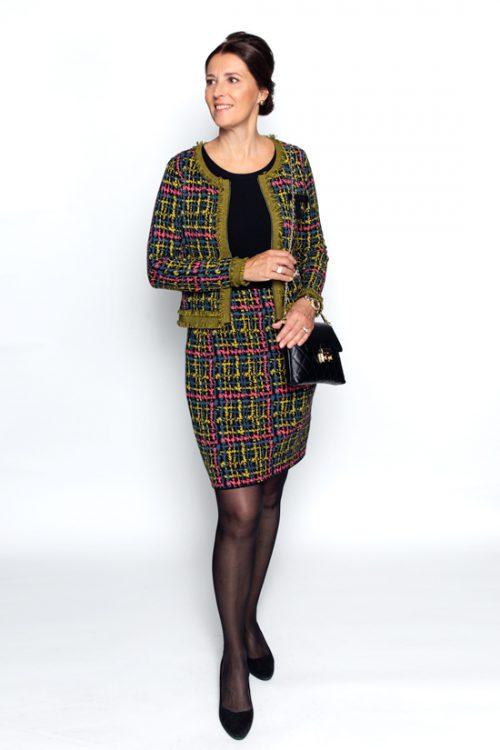 Tricot tweed tricot ensemble jurk met vest