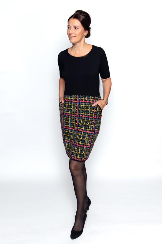 jurk met tweed print in trocot